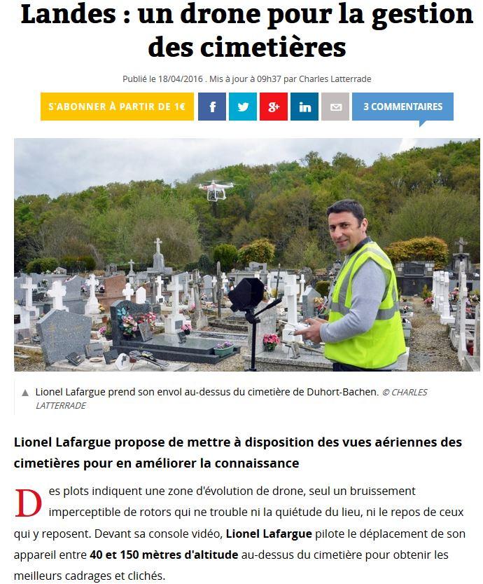 Article Sud-Ouest Logiciel cimetière