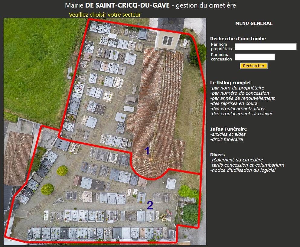 Logiciel gestion cimetière dans departement Landes