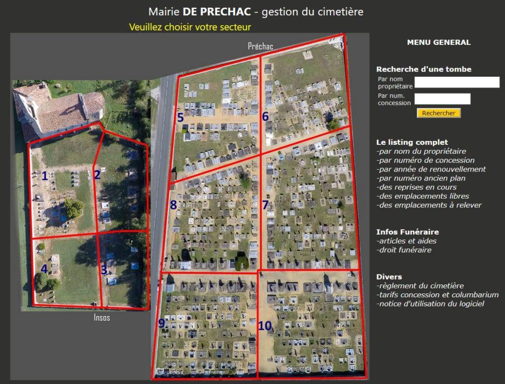 Logiciel gestion cimetière dans departement Gironde