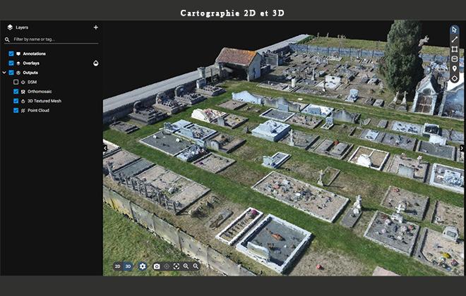 Cartographie cimetière 2D et 3D