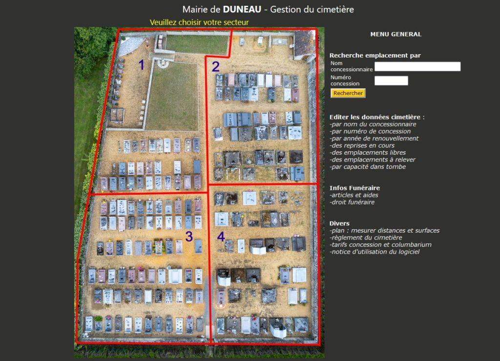 Gestion informatique des cimetières et Columbariums Sarthe
